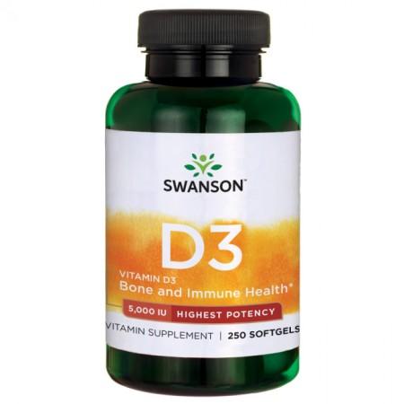 SWANSON Vitamin D3 5000IU 250kap Witamina D3