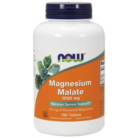 NOW FOODS Magnesium Malate (Jabłczan magnezu) 1000mg 180tab