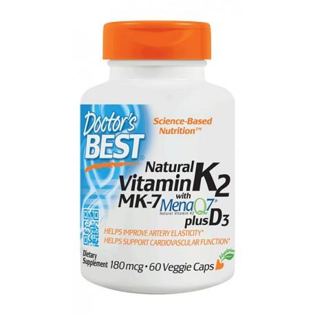 DOCTOR'S BEST Natural Vitamin K2 MK7 plus D3 60kap
