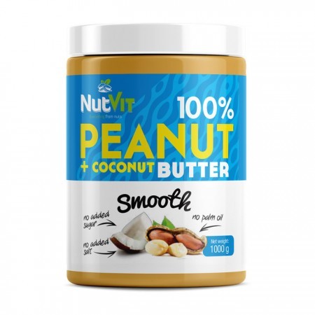 NUTVIT 100% Peanut + Coconut Butter Smooth 1000g