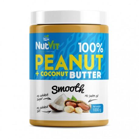 NUTVIT 100% Peanut + Coconut Butter Smooth 1000g