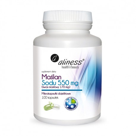 ALINESS Maślan Sodu 550 mg (Kwas masłowy 170 mg) x 100 VEGE kap