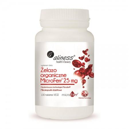 ALINESS Żelazo organiczne MicroFerr® 25mg 100tab. VEGE