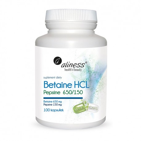 ALINESS Betaine HCL, Pepsyna 650/150 mg 100kap