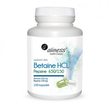 ALINESS Betaine HCL, Pepsyna 650/150 mg 100kap