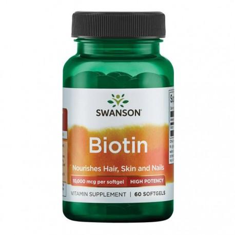 SWANSON Biotin 10mg 60kap Biotyna