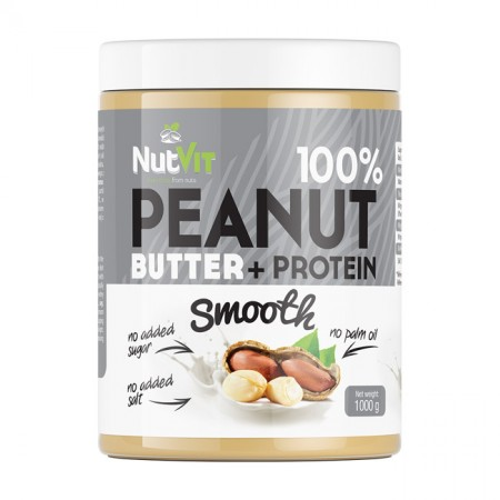 NUTVIT 100% Peanut + Protein Butter Smooth 1000g
