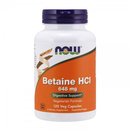 NOW FOODS Betaine HCL (Betaina) 648mg 120kap vege