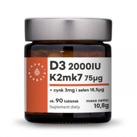AURA HERBALS Witamina D3 (2000IU) + K2mk7 + Cynk + Selen 90tab