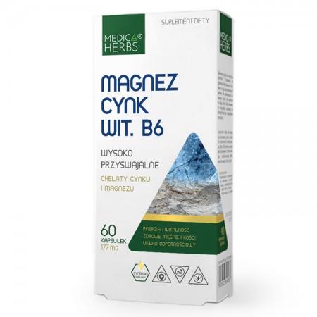 MEDICA HERBS Magnez, Cynk, Wit. B6 60kaps