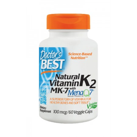 DOCTOR'S BEST Natural Vitamin K2 MK-7 MenaQ7 100mcg 60kap